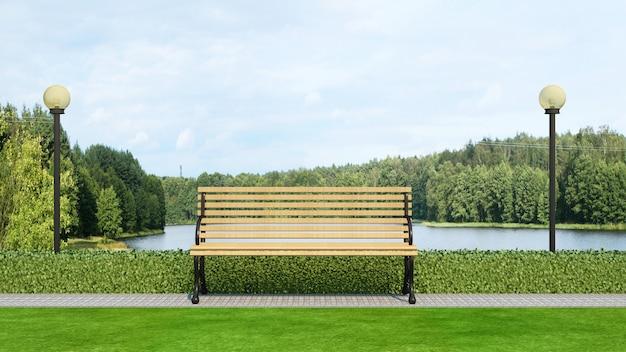 Hölzerne bank im park- und seeblick Premium Fotos