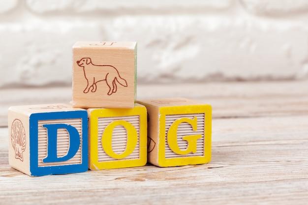 Hölzerne bauklötze mit dem text: hund Premium Fotos