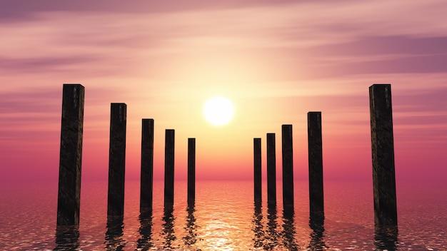 Hölzerne pfosten 3d im ozean gegen einen sonnenunterganghimmel Kostenlose Fotos