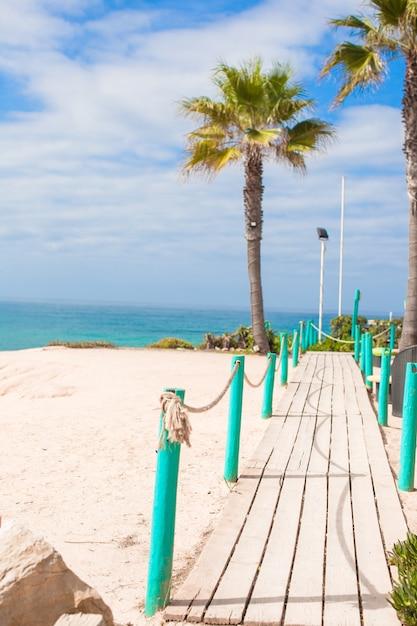 Hölzerne plattform auf dem weg zum meer von palmen im weißen strand Premium Fotos
