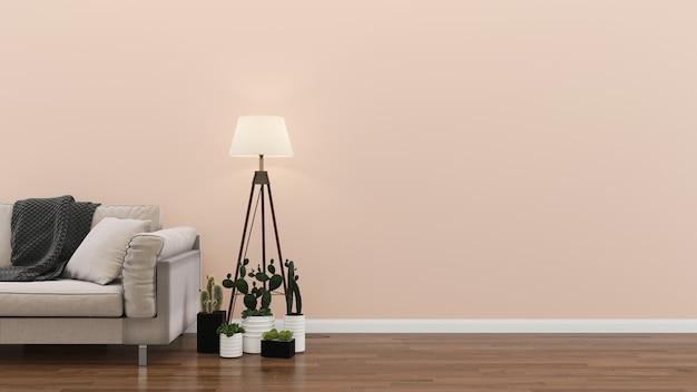 Hölzerne stehlampe-anlage des weißen sofas des innenwohnzimmers rosa pastellwand Premium Fotos