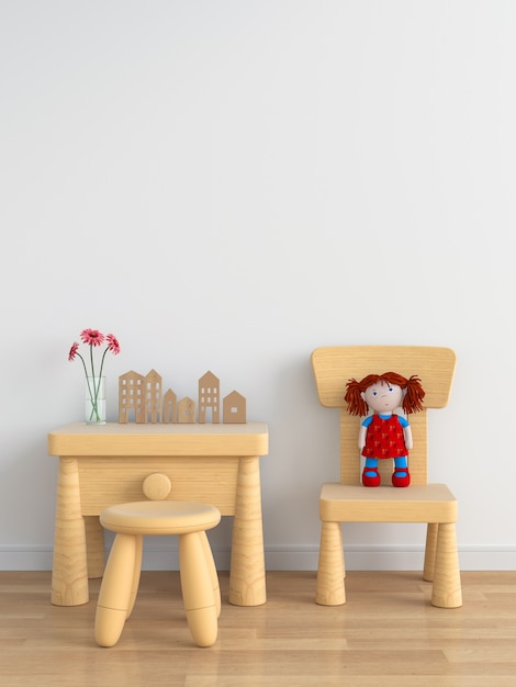 Hölzerne tabelle und stuhl im weißen kinderraum für modell Premium Fotos