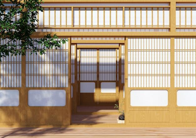 Hölzerne traditionelle japanische shoji-tür, japanisches traditionelles gebäudeäußeres, wiedergabe 3d Premium Fotos