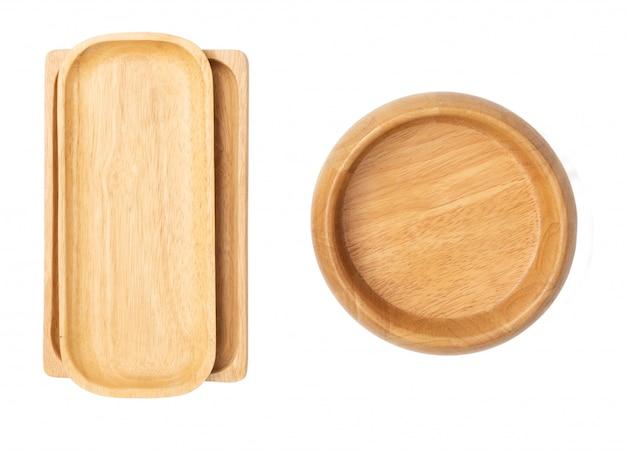 Hölzerner behälter und schüssel dishware lokalisiert auf weißem hintergrund Premium Fotos