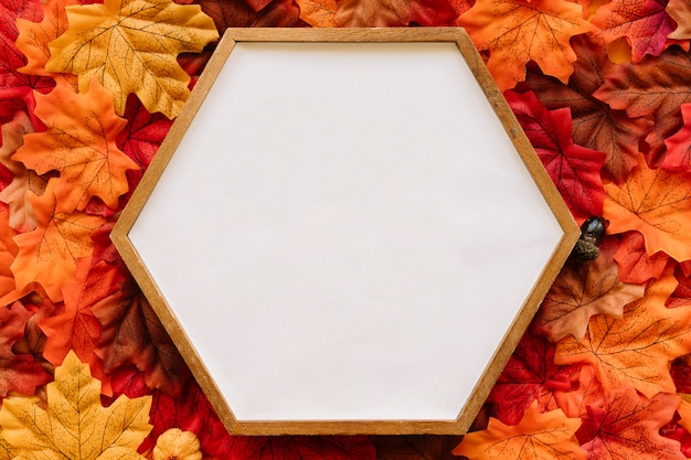 Hölzerner rahmen des hexagons auf herbsthintergrund Kostenlose Fotos