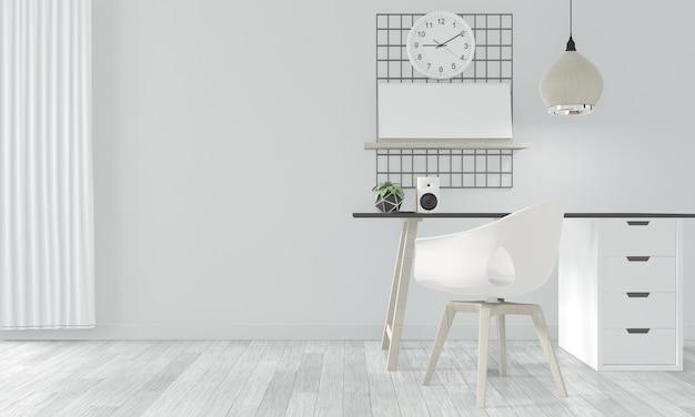 Hölzernes bequemes büro und dekoration auf weißer raumzenart. 3d-rendering Premium Fotos