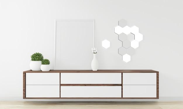 Hölzernes design des kabinetts im modernen leeren raum japanisch - zenart, minimale designe. 3d-rendering Premium Fotos