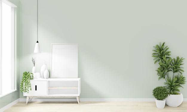 Hölzernes minimales japanisches design des kabinetts auf modernem zendesign des raumes wiedergabe 3d Premium Fotos