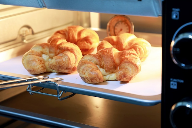 Hörnchenkäse im ofen mit warmen lichtern des ofens. Premium Fotos