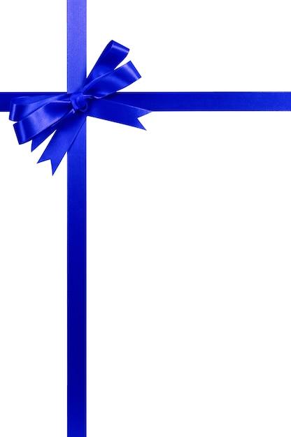Hohe vertikale des blauen bogengeschenk-bandes Premium Fotos