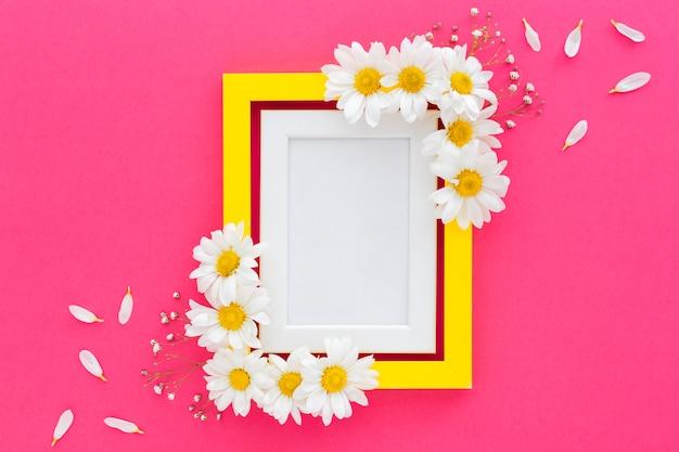 Hohe winkelsicht des fotorahmens verziert mit weißen blumen und den blumenblättern Kostenlose Fotos