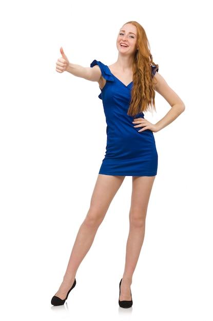 Hohes baumuster im blauen kleid getrennt Premium Fotos