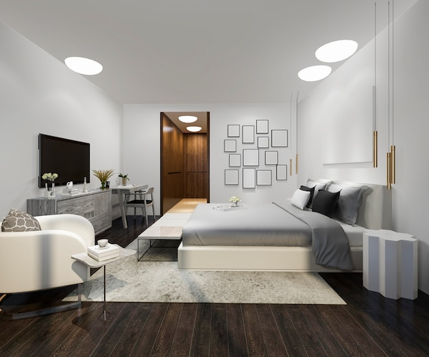 Holz schönes loft mit minimalem schlafzimmer Premium Fotos