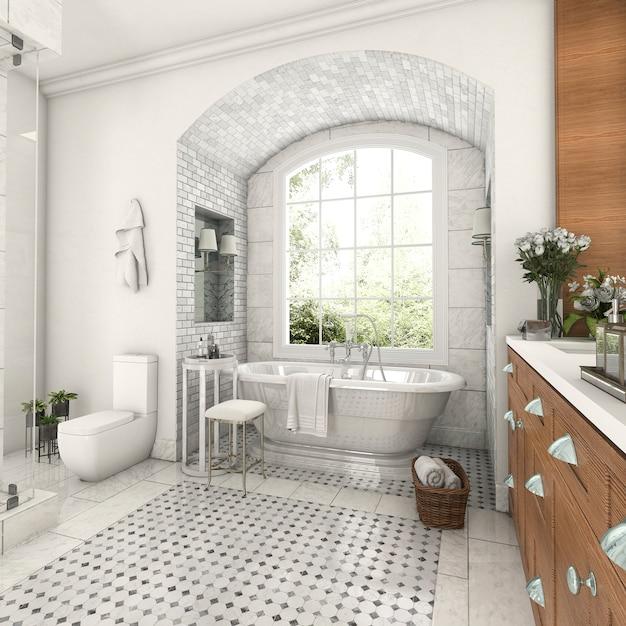 Holz- und fliesendesignbadezimmer der wiedergabe 3d nahe fenster mit bogenbacksteinmauer Premium Fotos
