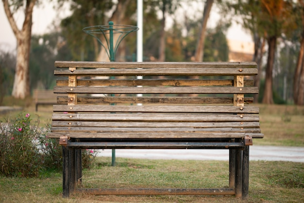 Holzbank in einem park an einem sonnigen wintermorgen Premium Fotos