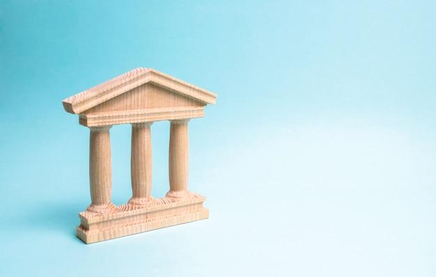 Holzdenkmal oder regierungsgebäude. minimalistische darstellung eines statebuilding Premium Fotos
