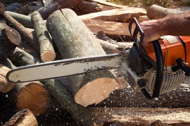 Holzfäller holz mit kettensäge schneiden Kostenlose Fotos