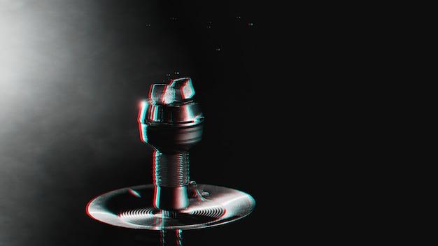 Holzkohle in einer shisha-schüssel mit rauch mit 3d-glitch-virtual-reality-effekt Premium Fotos