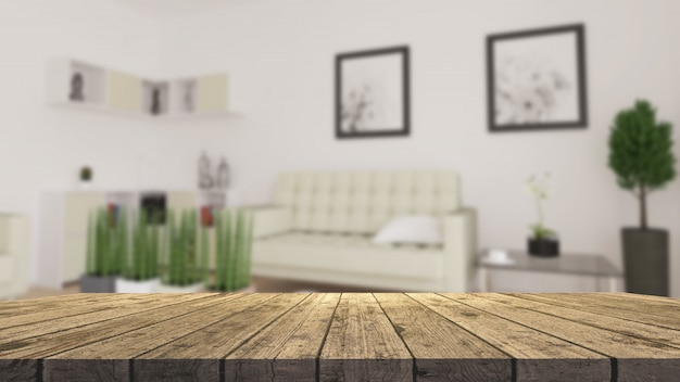 Holztisch 3d, der heraus zu einem defocussed modernen wohnzimmer schaut Kostenlose Fotos