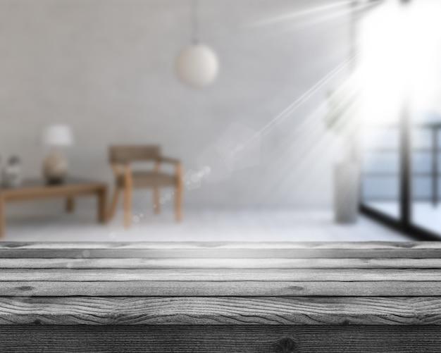 Holztisch 3d, der heraus zu einem defokussierten rauminnenraum schaut Kostenlose Fotos