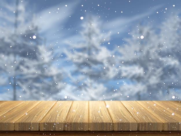 Holztisch 3d, der heraus zu einer schneebedeckten landschaft schaut Kostenlose Fotos
