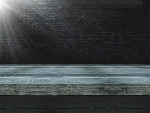 Holztisch 3d gegen eine alte schmutzbacksteinmauer mit dem scheinwerferglänzen Kostenlose Fotos