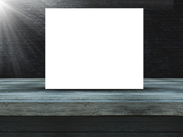Holztisch 3d gegen eine alte schmutzbacksteinmauer mit leerem segeltuch Kostenlose Fotos