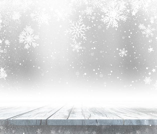 Holztisch 3d mit weihnachtshintergrund Kostenlose Fotos