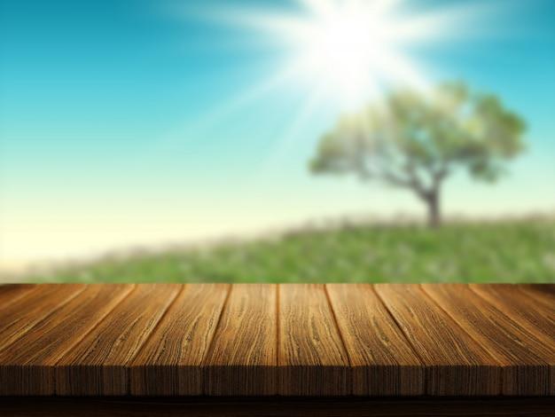 Holztisch mit baumlandschaft im hintergrund Kostenlose Fotos