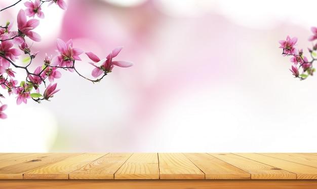 Holztisch mit natürlicher landschaft Premium Fotos