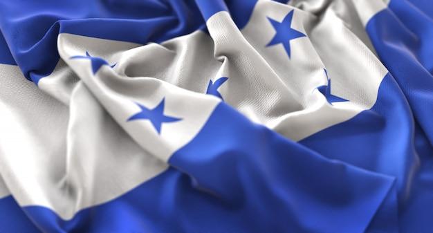 Honduras flagge ruffled winkeln makro nahaufnahme schuss Kostenlose Fotos
