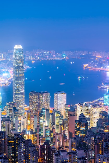 Hong kong city skyline und architekturlandschaft Premium Fotos