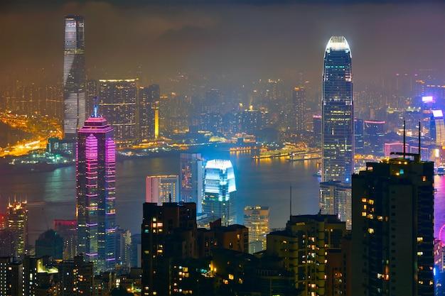 Hong kong wolkenkratzer skyline stadtbildansicht Premium Fotos