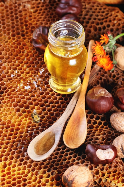 Honig und nüsse Premium Fotos