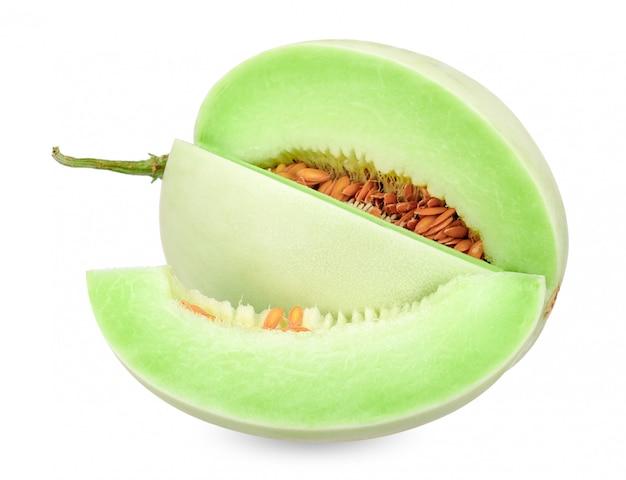 Honigtaumelone lokalisiert auf weißem beschneidungspfad Premium Fotos