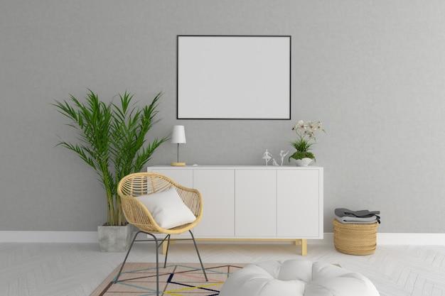 Horizontales rahmenmodell des skandinavischen wohnzimmers Premium Fotos