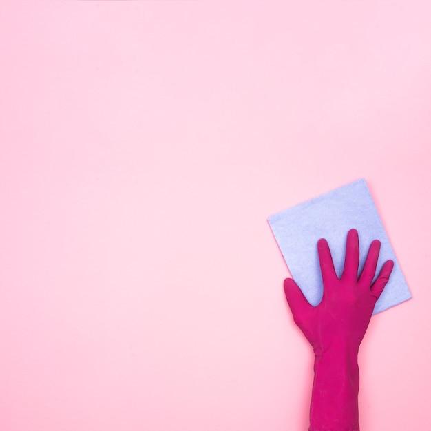 Housekeeping-konzept mit lappen und handschuh Kostenlose Fotos