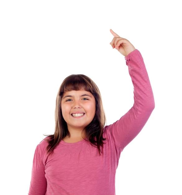 Hübsches kind, das bittet zu sprechen Premium Fotos