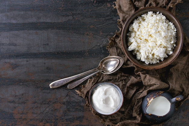Hüttenkäse mit joghurt Premium Fotos