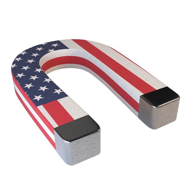 Hufeisenmagnet und amerikanische flagge lokalisiert auf weißem hintergrund. Premium Fotos