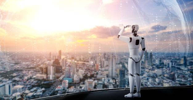 Humanoid des 3d-illustrationsroboters, der vorwärts gegen die skyline des stadtbildes schaut Premium Fotos
