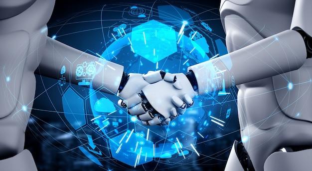 Humanoide roboter geben sich die hand Premium Fotos
