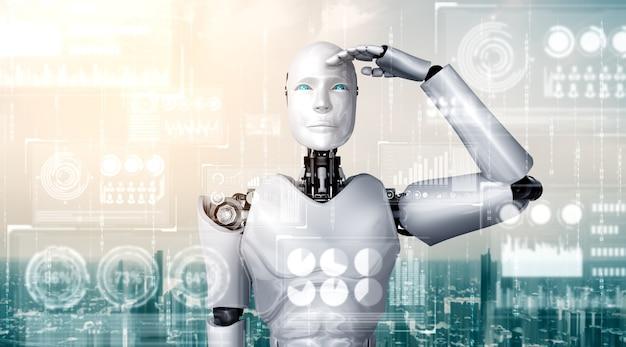 Humanoider ki-roboter, der hologrammbildschirm betrachtet, der konzept von big data zeigt Premium Fotos