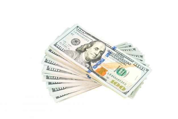 Hundert-dollar-banknoten auf weißem hintergrund Kostenlose Fotos