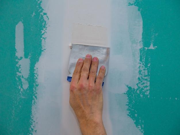 Hydrophobe gipskarton-putznaht Premium Fotos