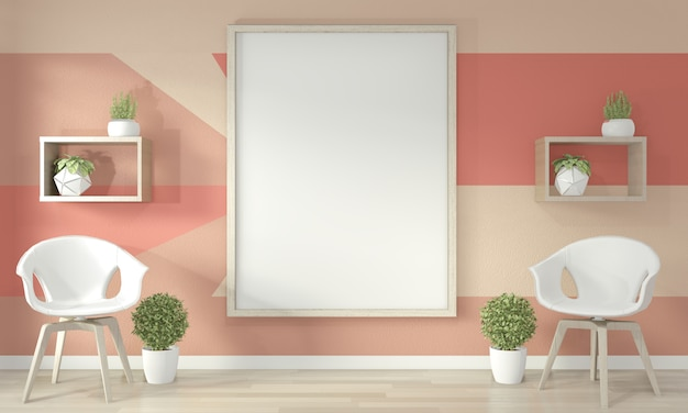 Ideen des lebenden korallenroten wohnzimmers geometrisches wall art paint färben vollen stil auf bretterboden. 3d-rendering Premium Fotos