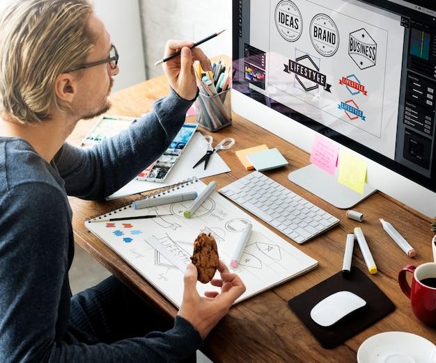 Ideen-kreatives besetzungs-design-studio, das startkonzept zeichnet Premium Fotos