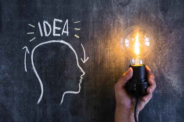 Ideentext über dem entwurfskopf mit einer belichteten glühlampe in der hand Kostenlose Fotos