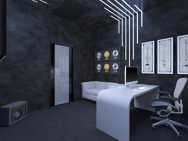Illustration 3d der innenarchitektur eines büroschicksals der guit Premium Fotos