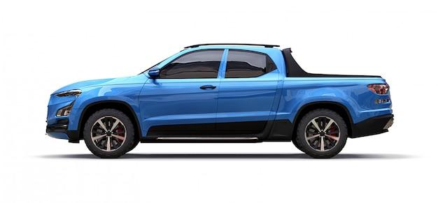 Illustration 3d des blauen konzeptfracht-kleintransporters auf weiß lokalisiert Premium Fotos